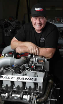 Mike Ryan poses with a Gale Banks 866T engine